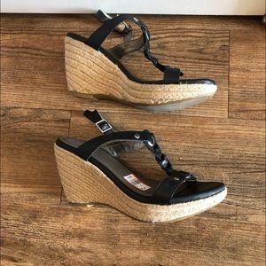 🆕NWT Me Too Black Wedge Sandals  Beige Jute Wedge